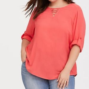 Torrid Coral Lattice Challis Blouse